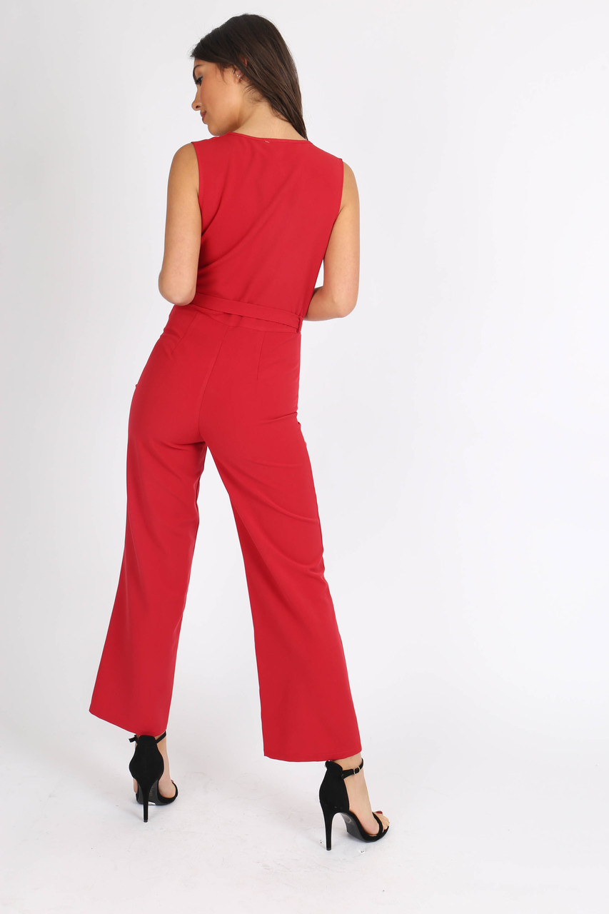 Red Sleeveless Wrap Front Jumpsuit