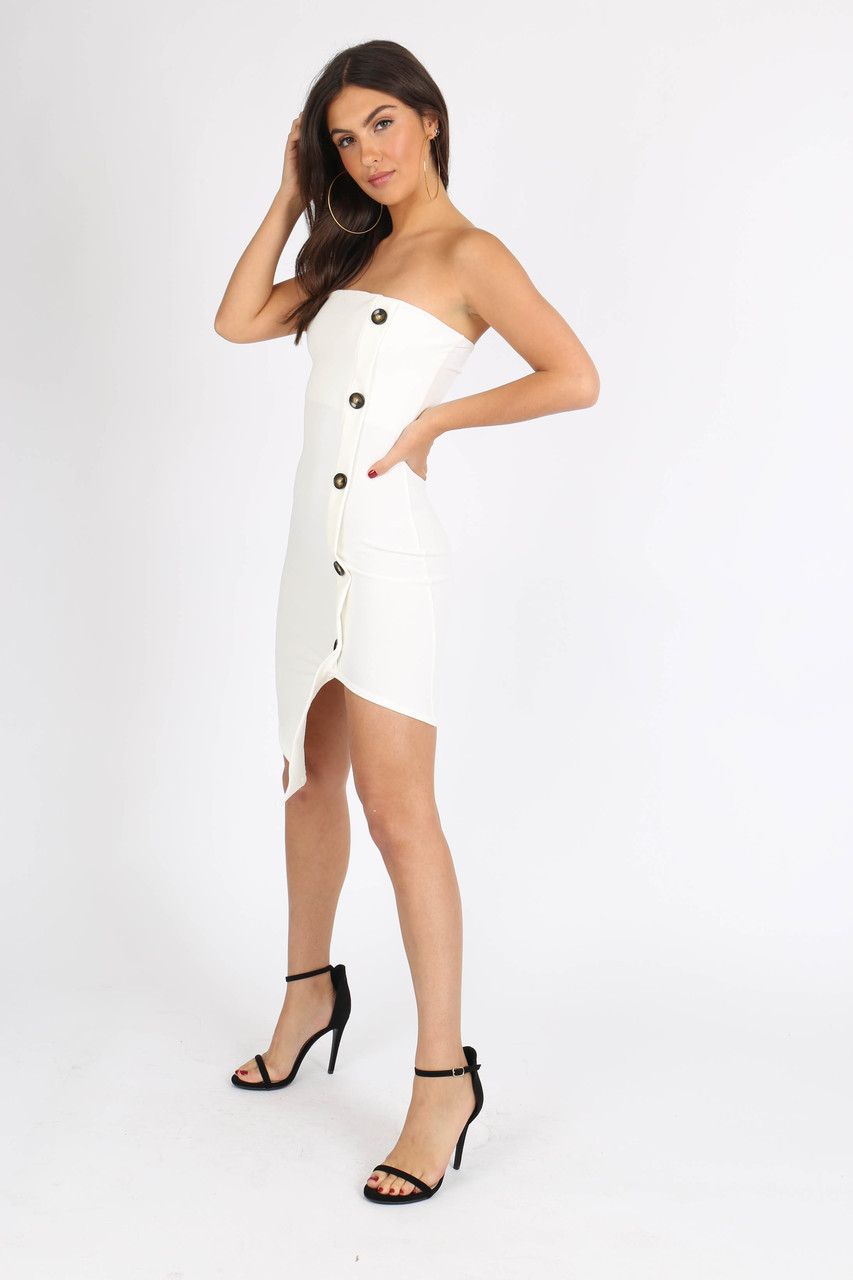 Cream Bandeau Button Detail Mini Dress