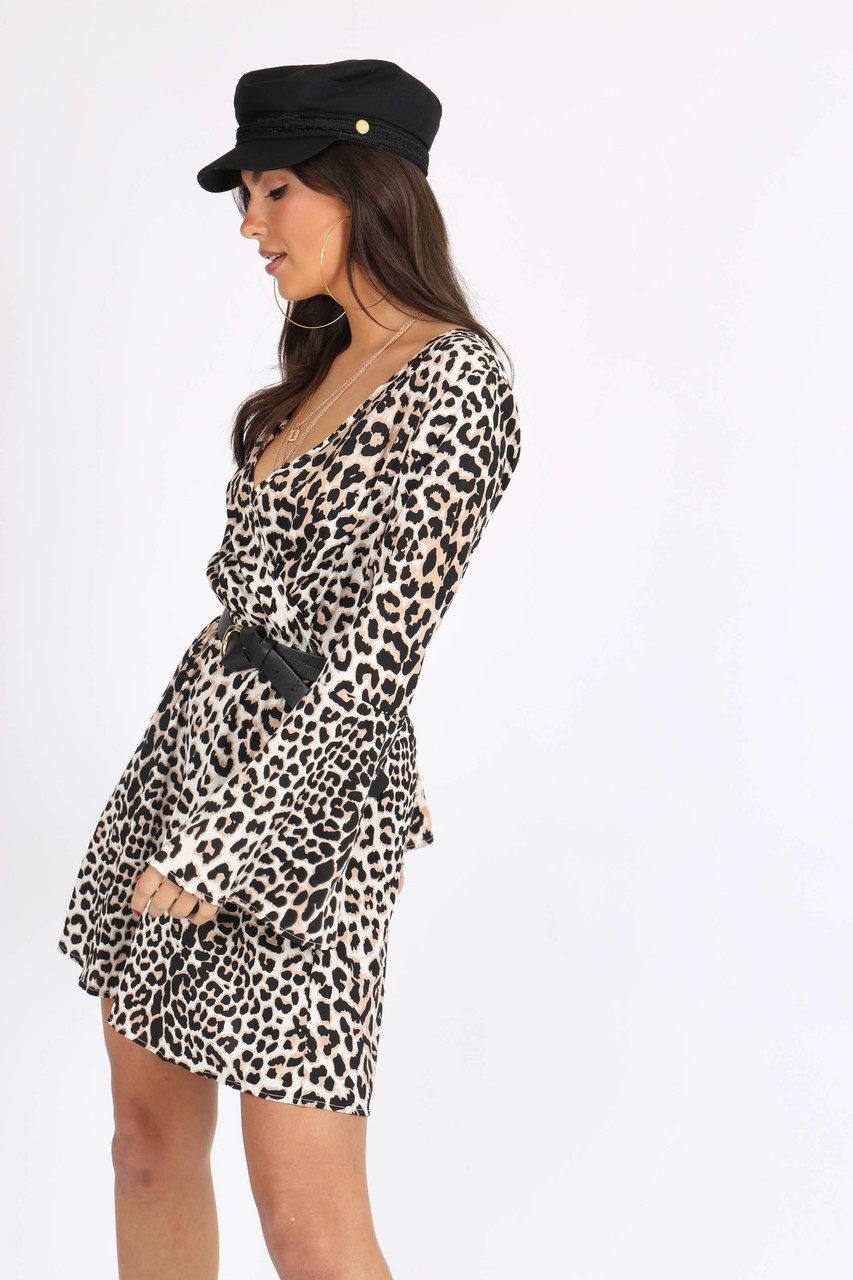 Leopard Print Flue Sleeve Skater Dress