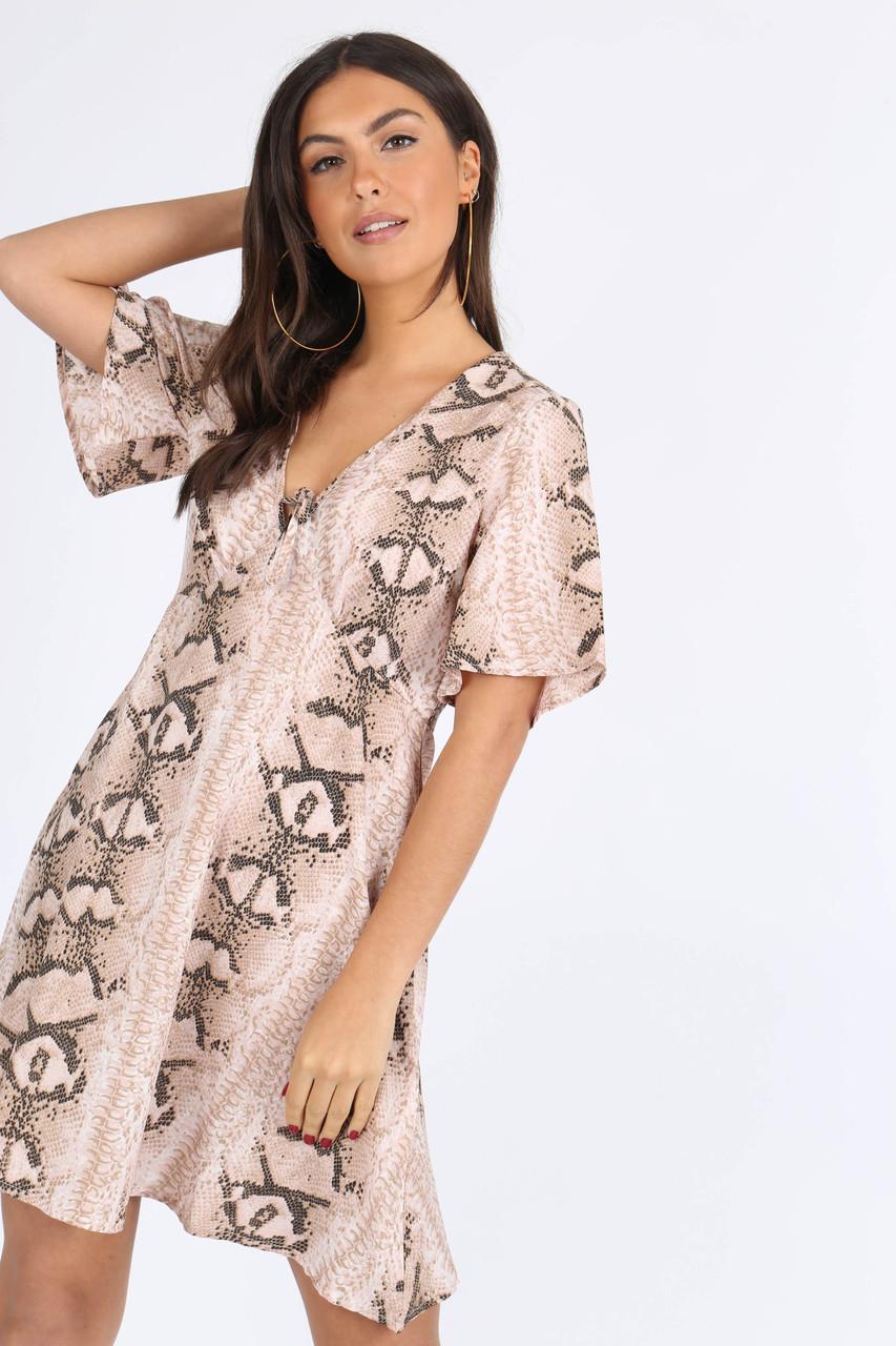 Stone Snake Print Tie Front Babydoll Dress