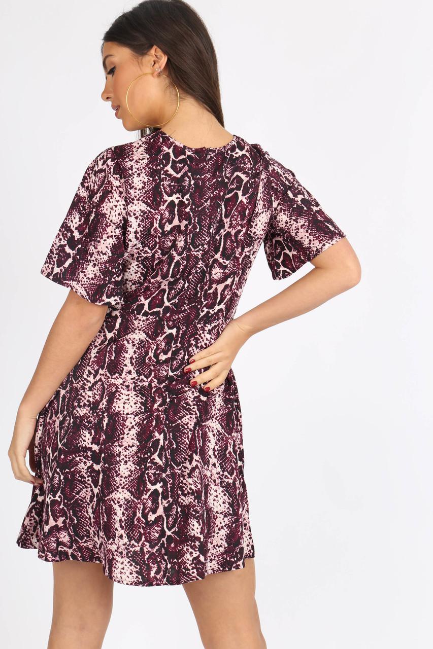 Purple Snake Print Tie Front Babydoll Dress