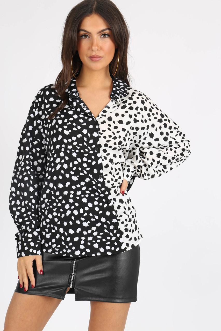 Mono Animal Print Contrast Oversized Shirt