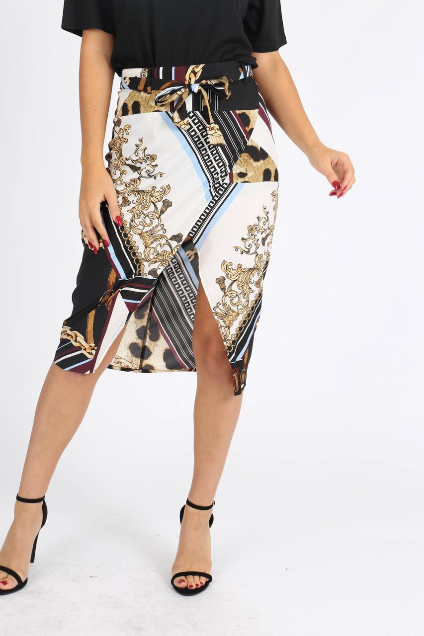 Multi Chain Print Self Tie Wrap Skirt
