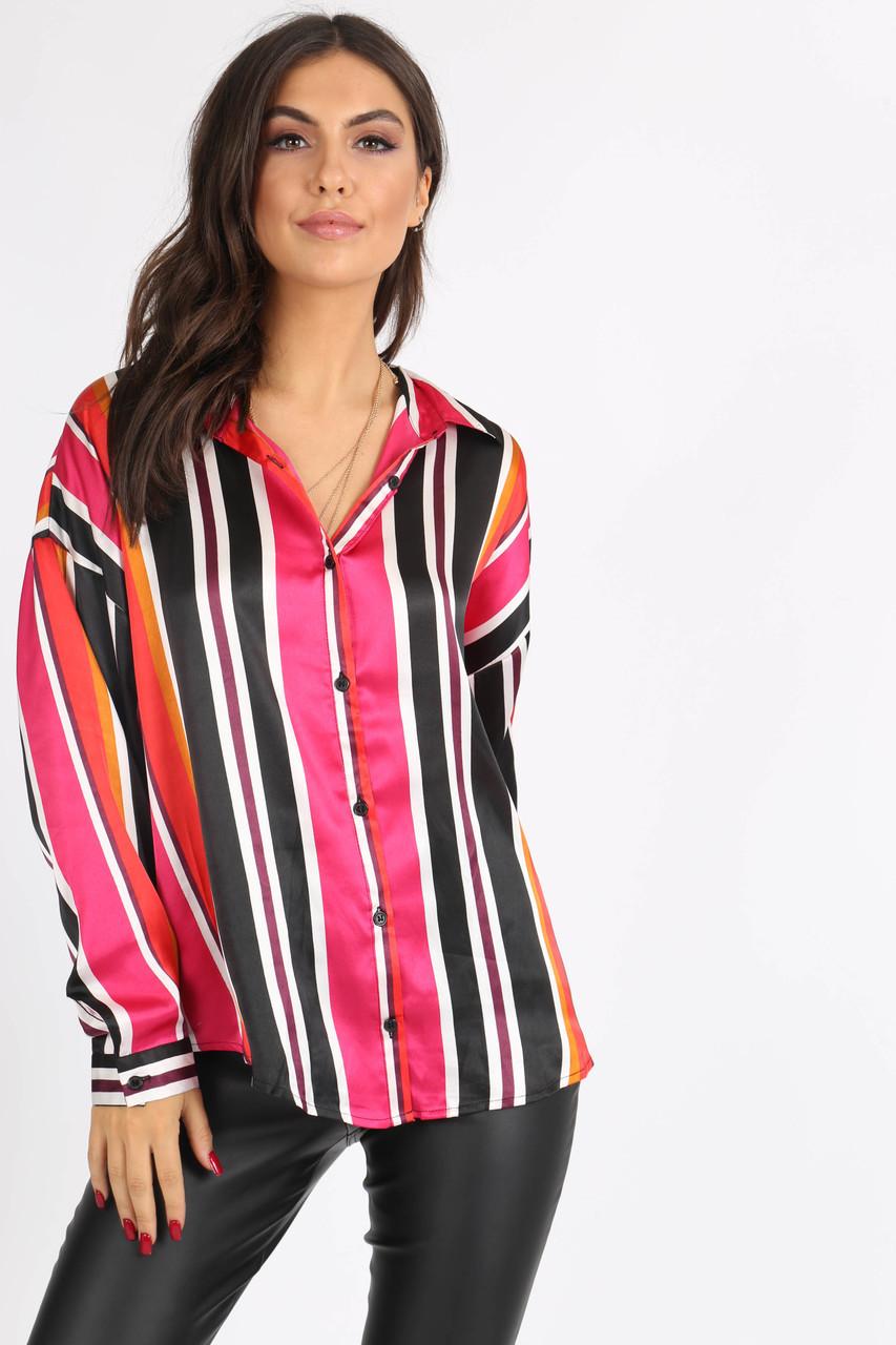 Multi Stripe Button Down Oversized Shirt