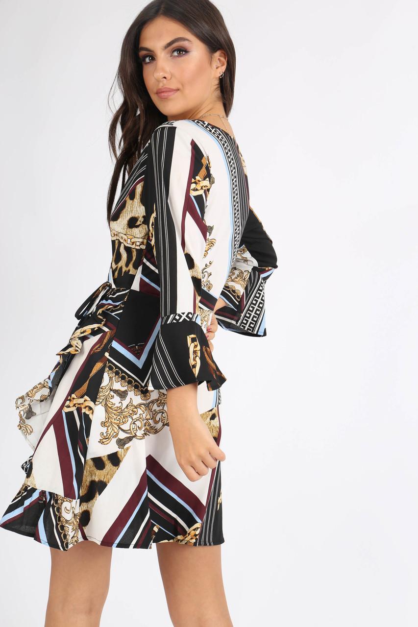 Multi Chain Printed Ruffle Hem Mini Dress