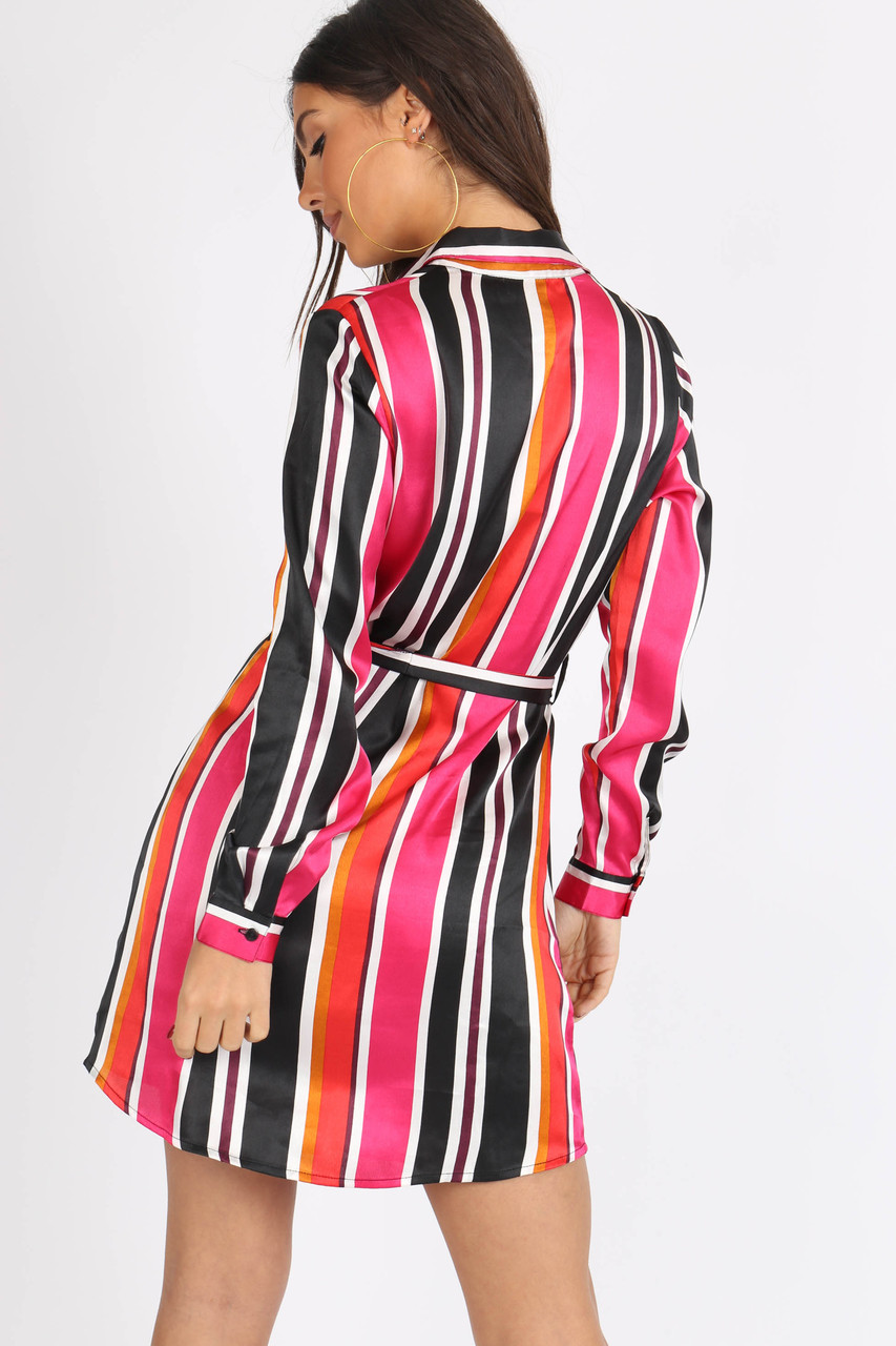 Multi Satin Stripe Self Tie Belt Shirtdress