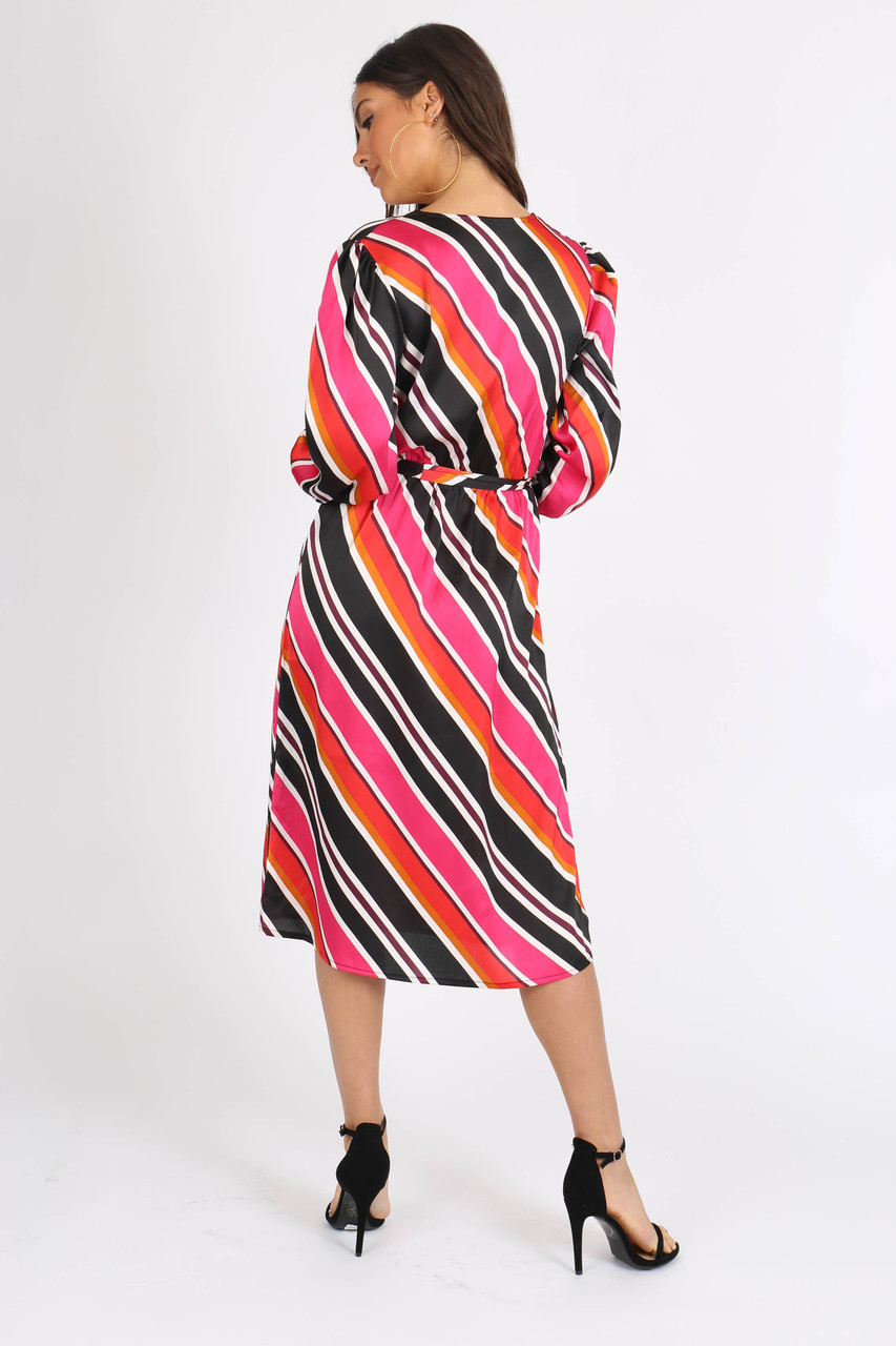 Multi Satin Stripe Self Tie Belt Midi Dress