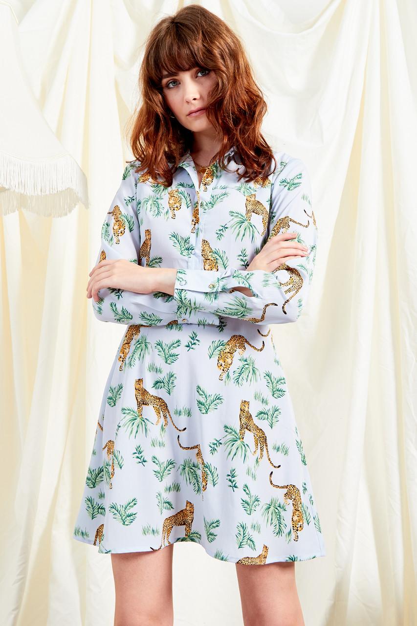 Savannah Leopard Print Shirtdress