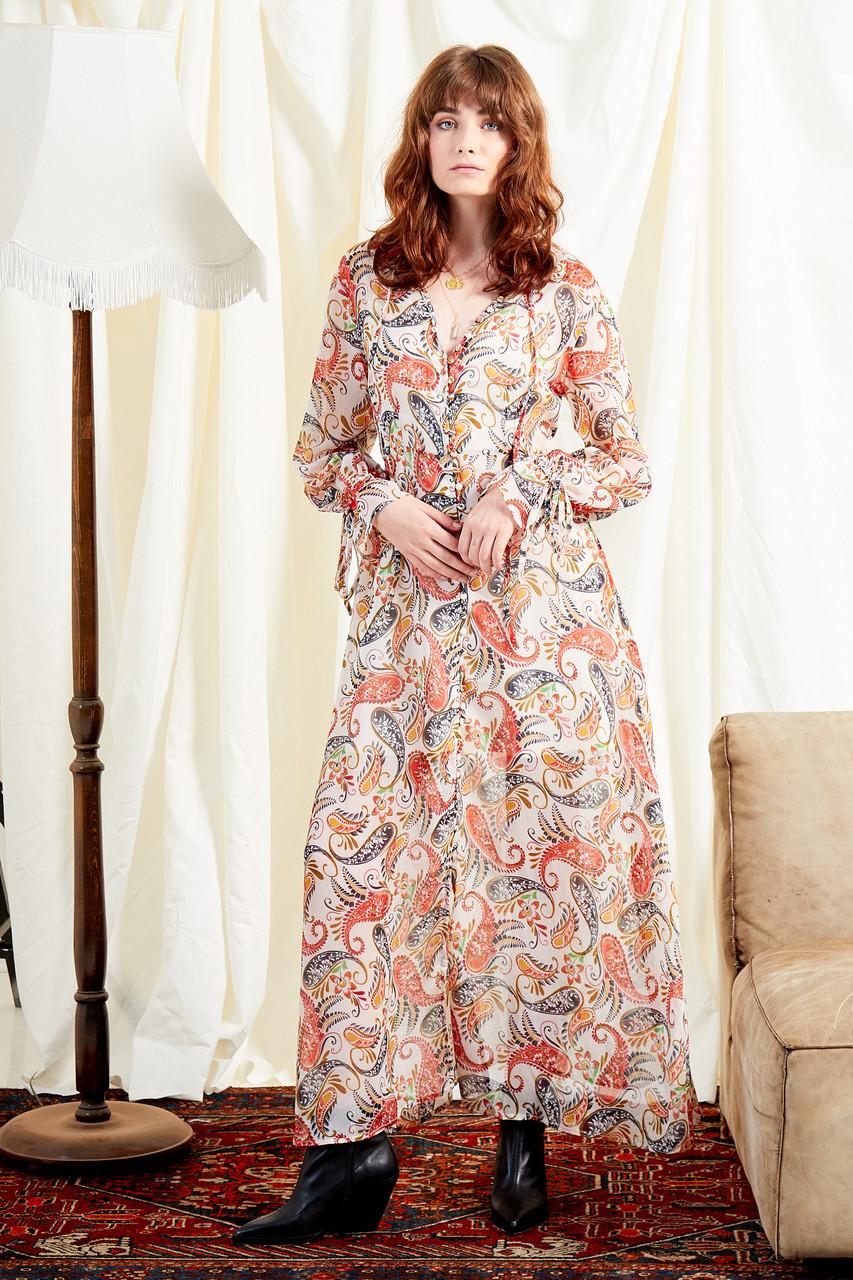Delilah Paisley Hanky Hem Midi Dress