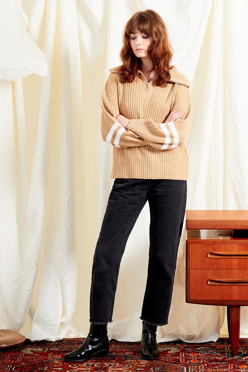 Zip Through Sports Stripe Knit
