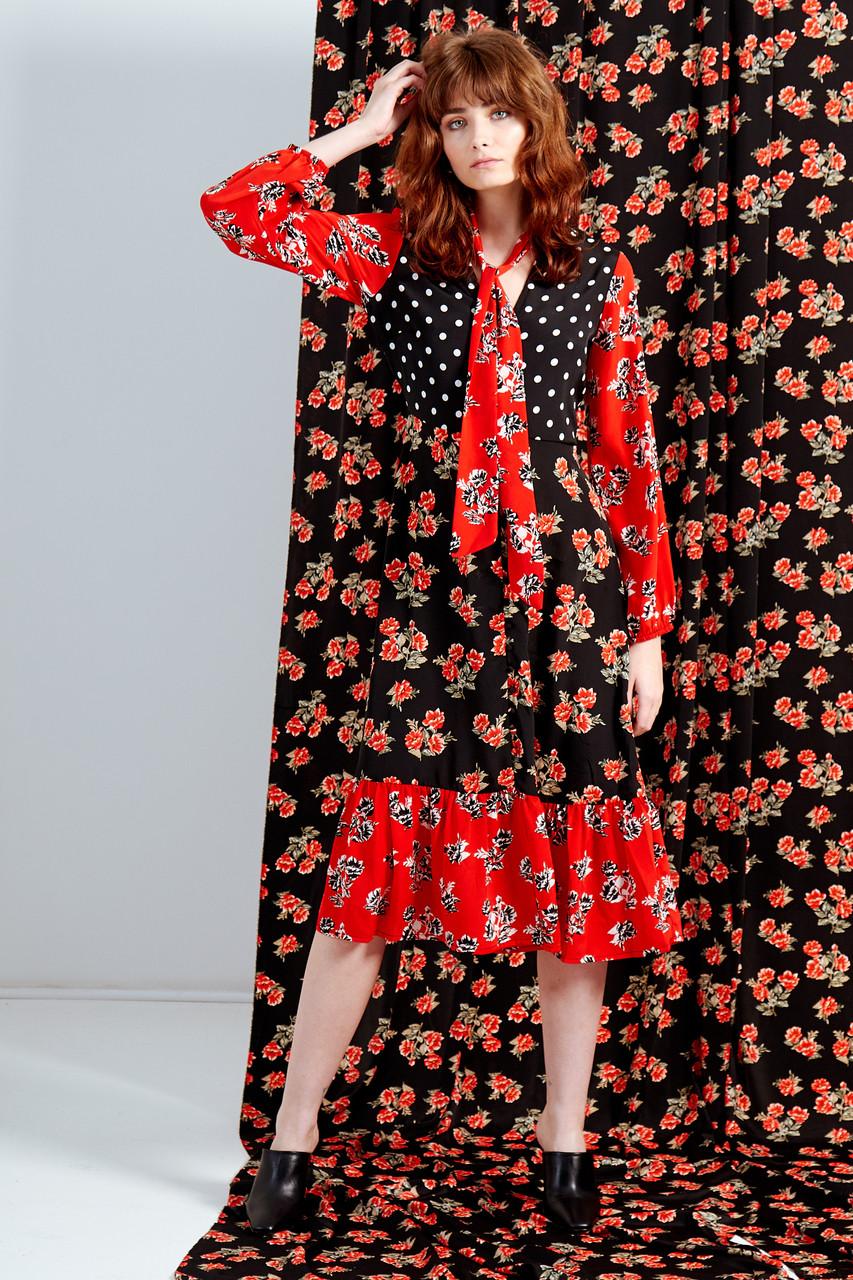 Marina Mix And Match Button Front Midi Dress