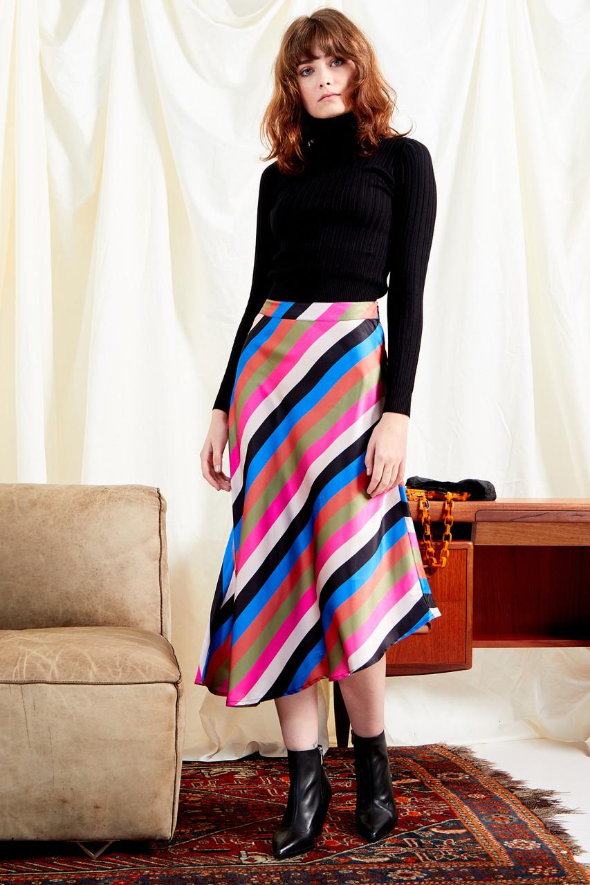 Sienna Stripe Satin Midi Skirt