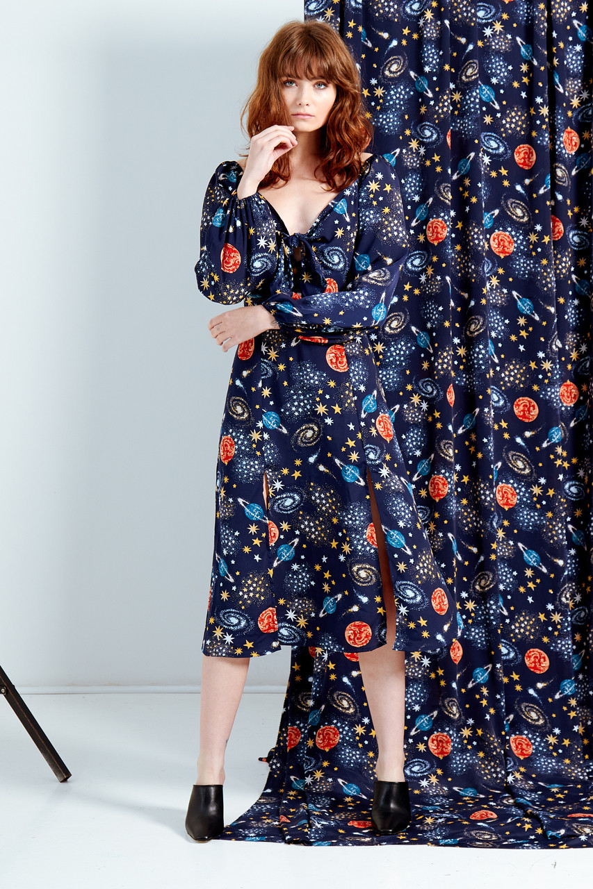 Stella Constellation Print Tie Front Midi Dress