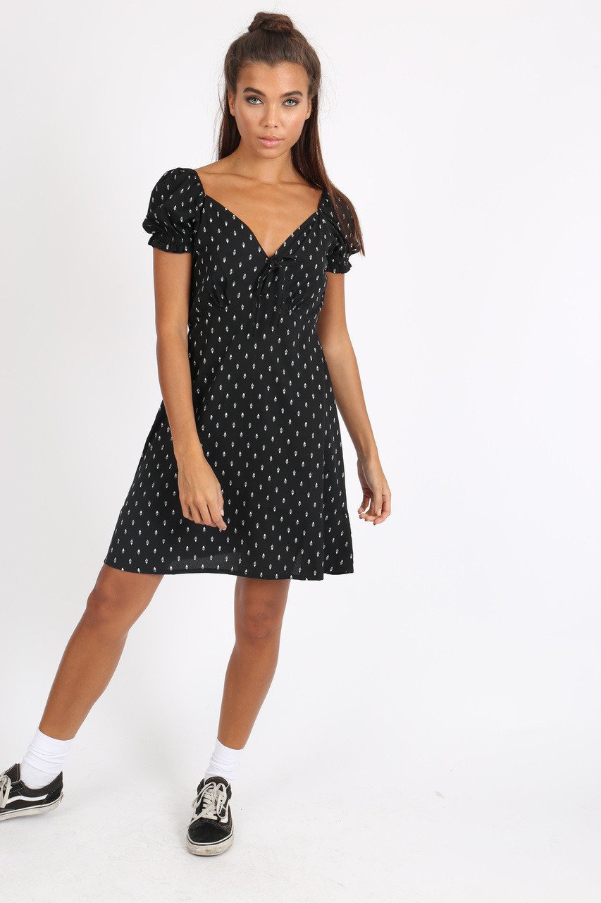 Black Puff Sleeve Tie Front Mini Dress