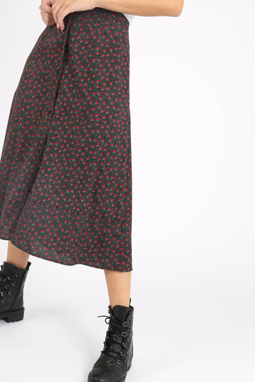Ditsy Cherry Print Button Down Midi Skirt