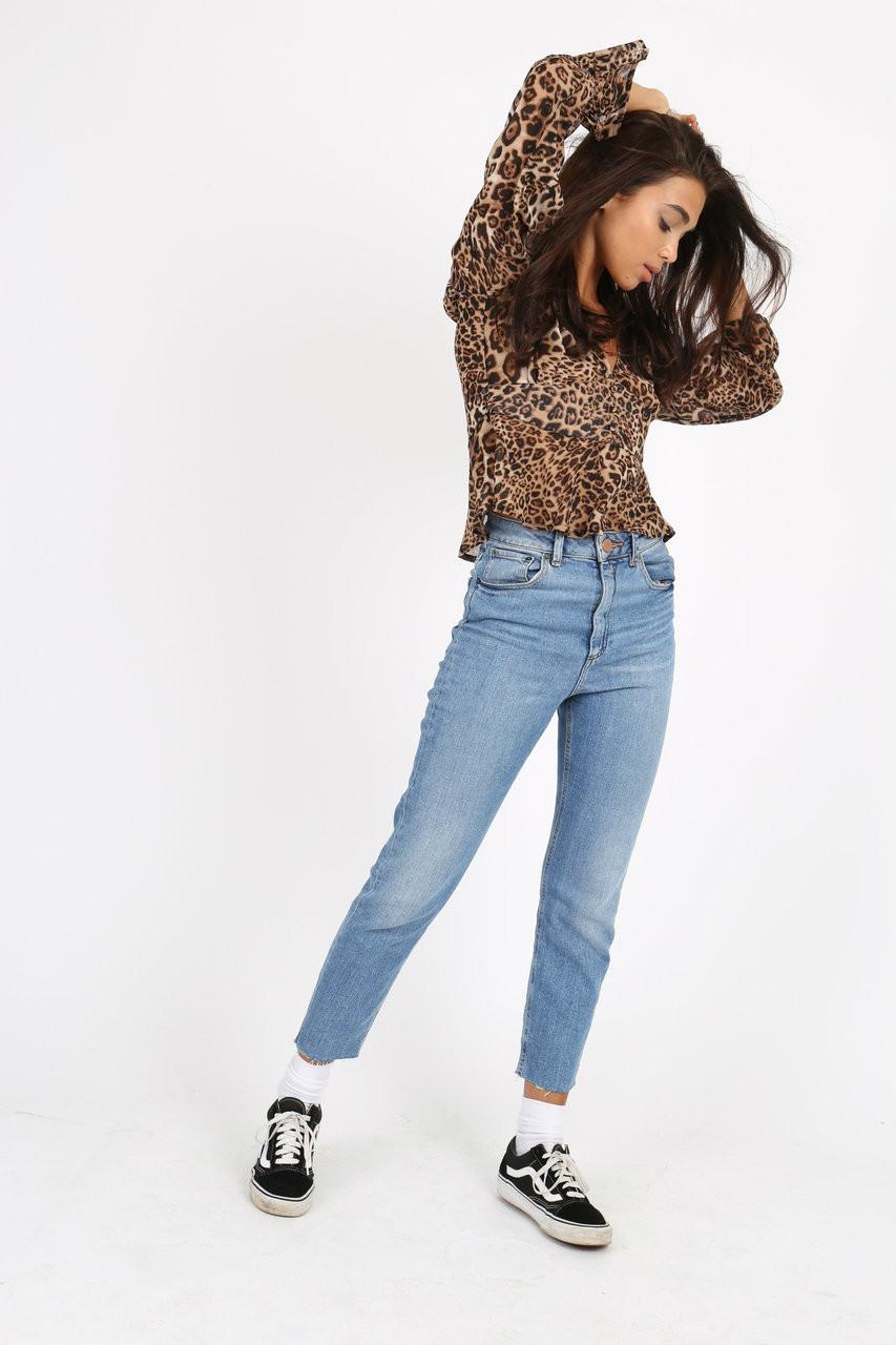 Leopard Print Button Front Blouse