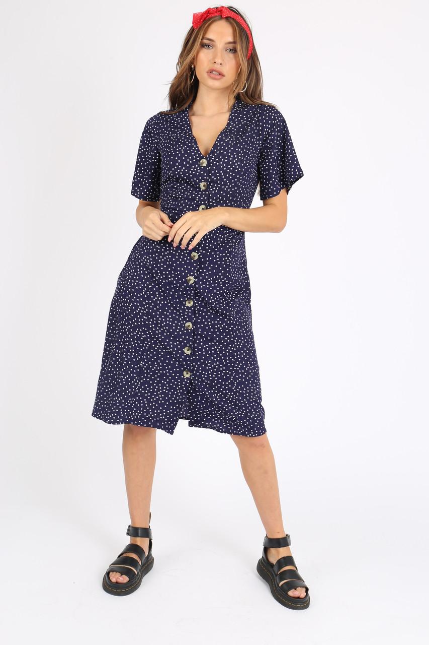 Navy Polkadot Button Down Midi Dress