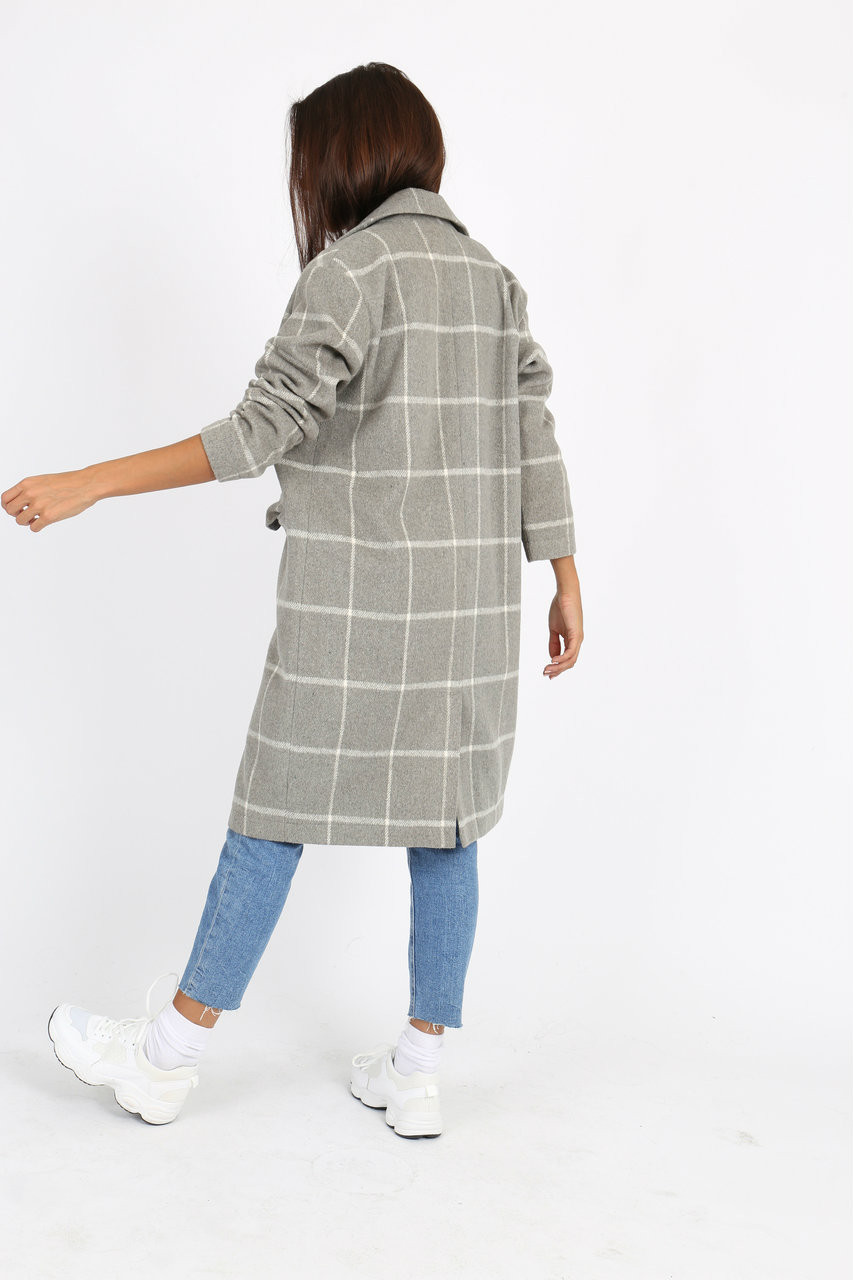 Grey Check Double Breasted Coat