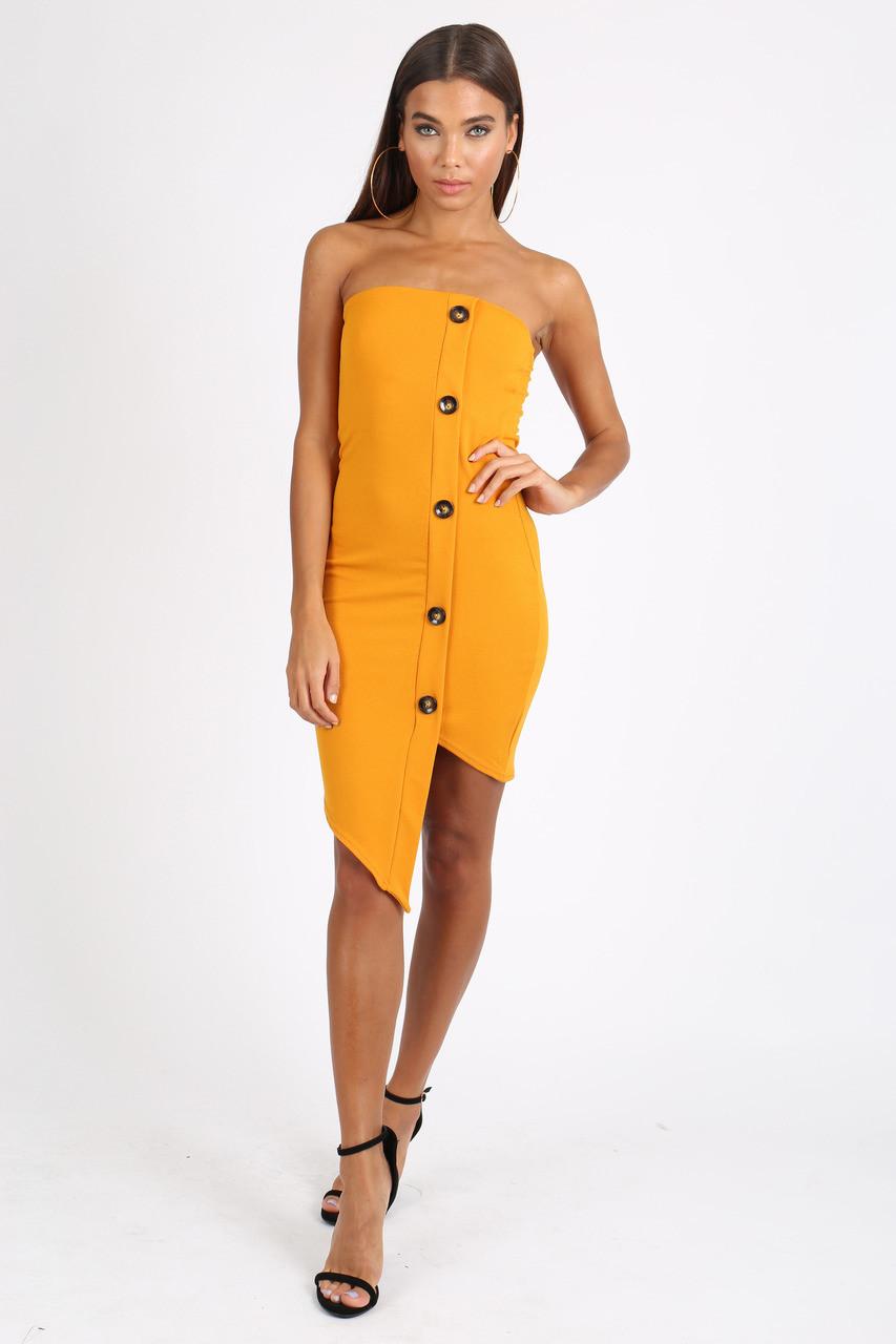 Mustard Bandeau Button Detail Mini Dress