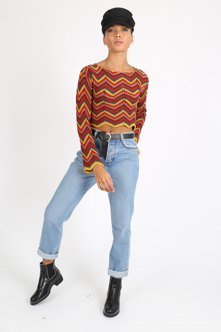 Red Multi Chevron Knitted Cropped Jumper