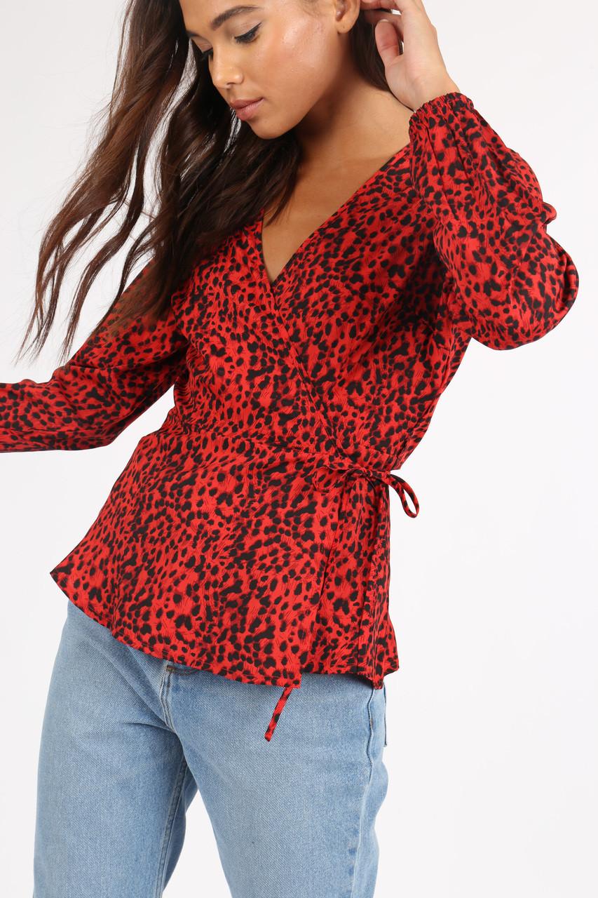 Red Animal Print Wrap Blouse
