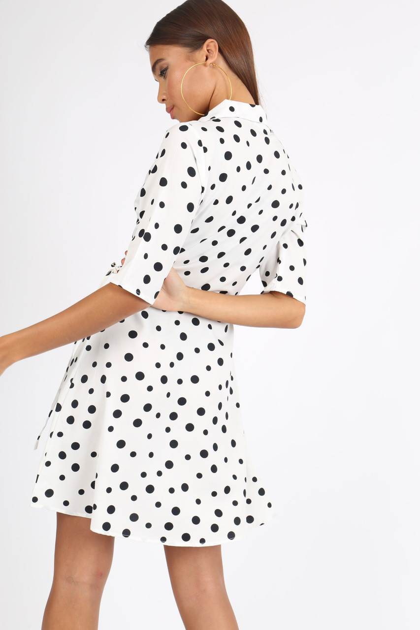 White Polkadot Rever Collar Wrap Mini Dress
