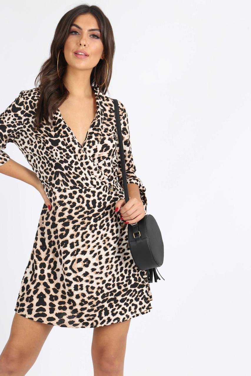Leopard Print Button Detail Mini Dress