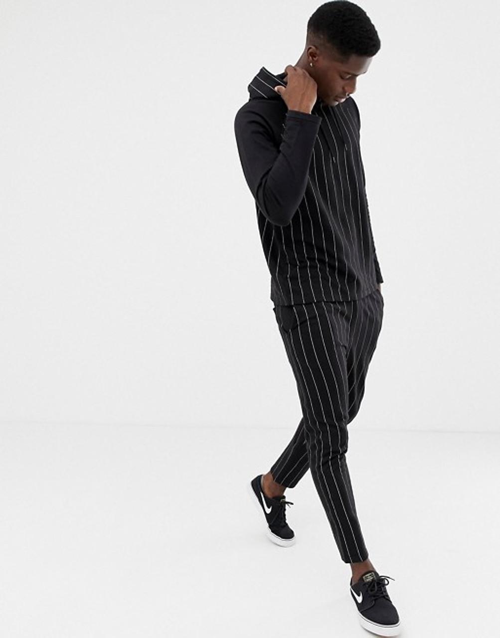 Black Pinstripe Hoodie