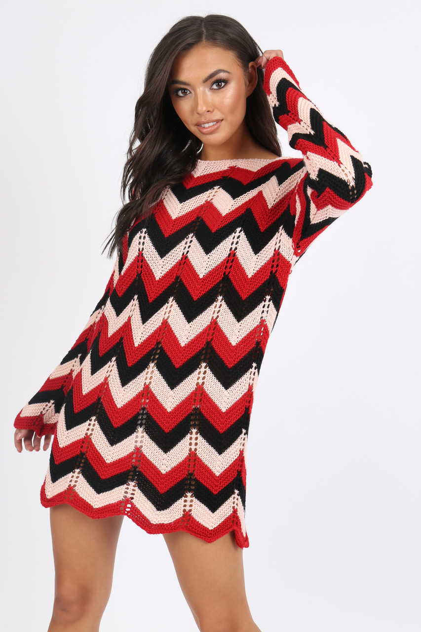 Red Chevron knitted jumper dress