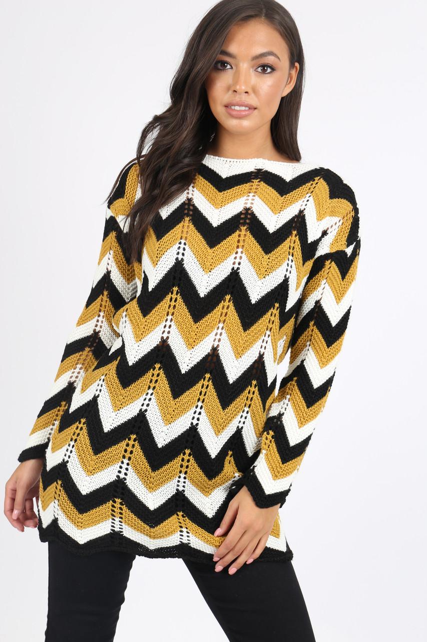 Mustard Chevron knitted jumper dress