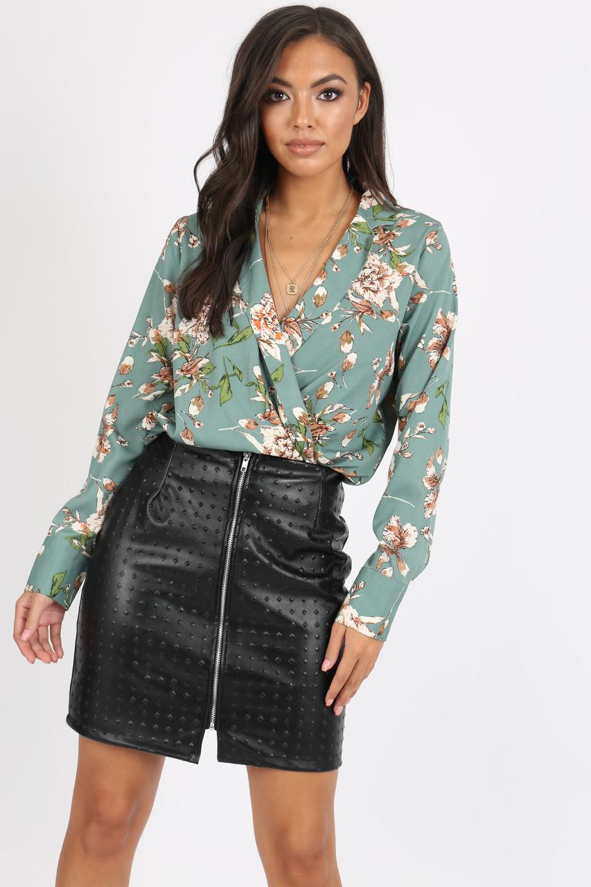 Green Floral Wrap Bodysuit