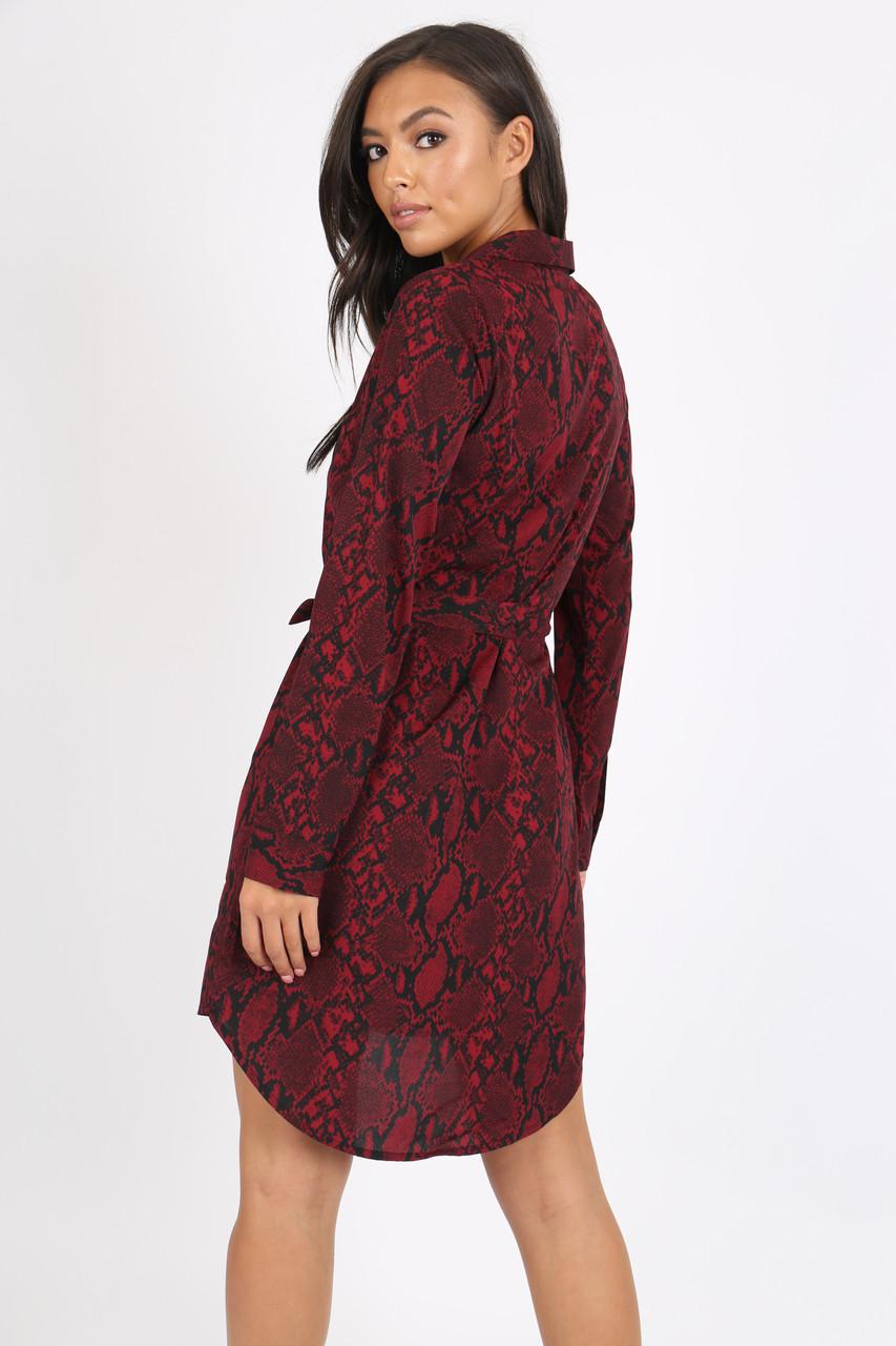 Wine Snake Print Button Detail Shirt Dress
