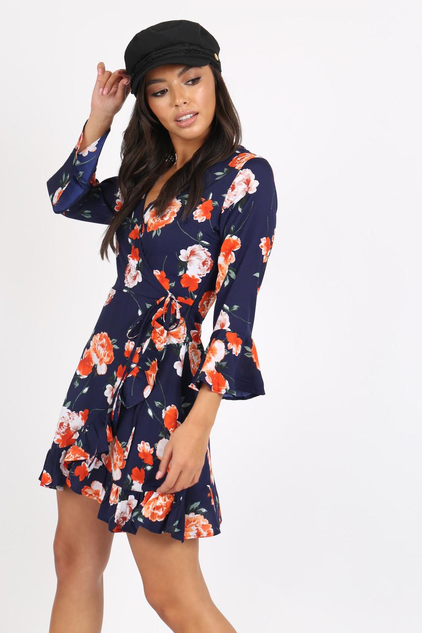 Navy Floral Ruffle Hem Mini Dress