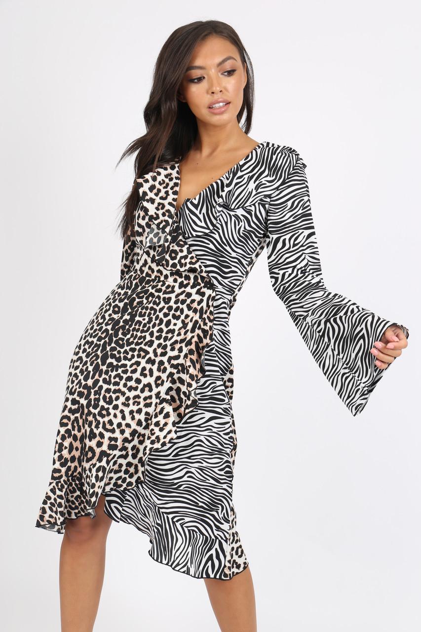 Contrast Zebra Print Ruffle Wrap Dress