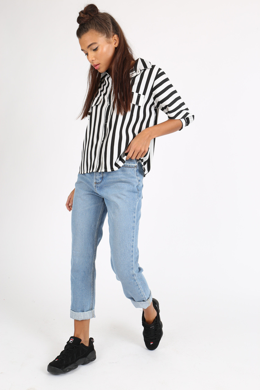Black White Stripe Button Down Crop Shirt