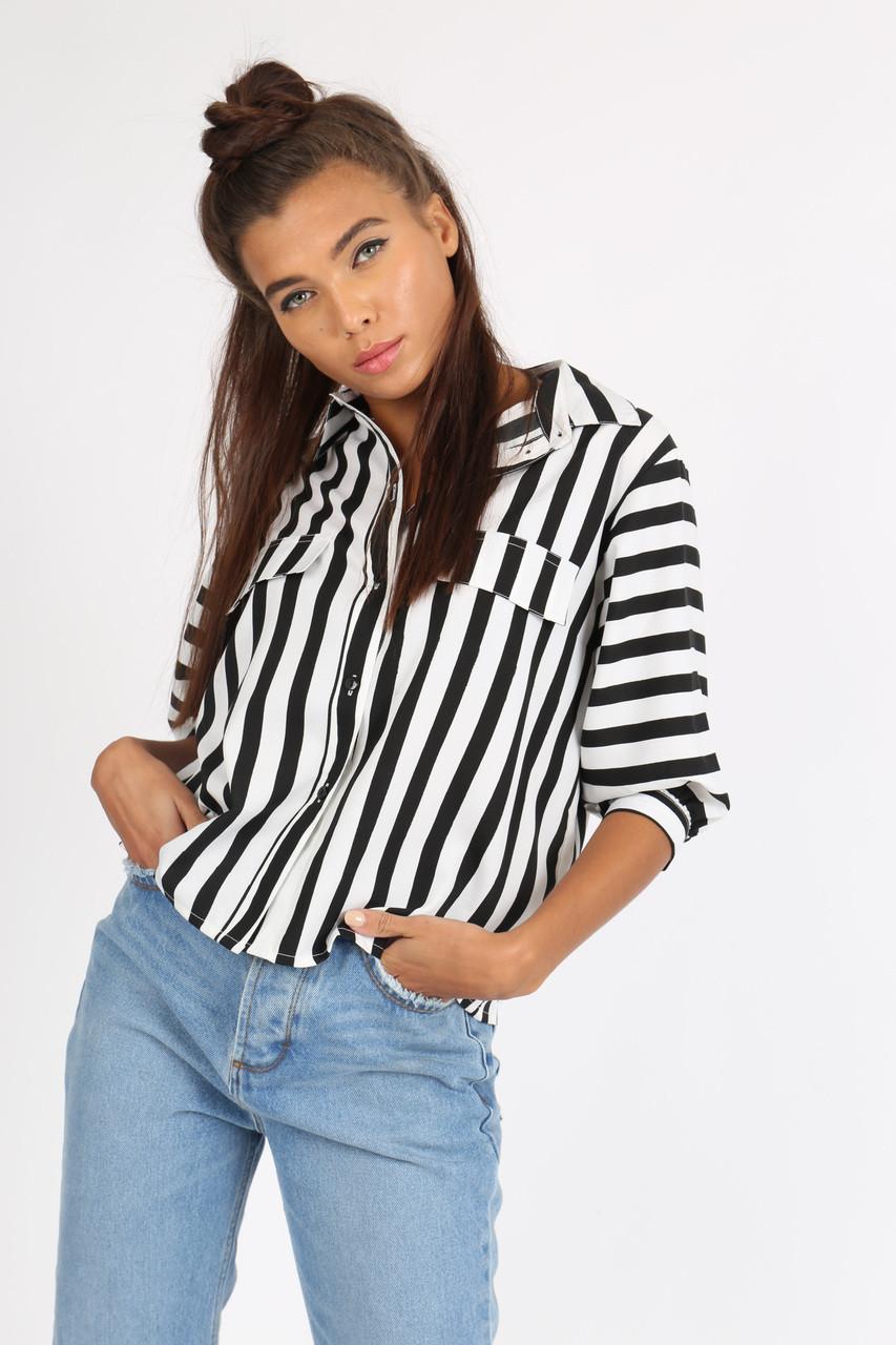 Black White Stripe Button Down Crop Shirt