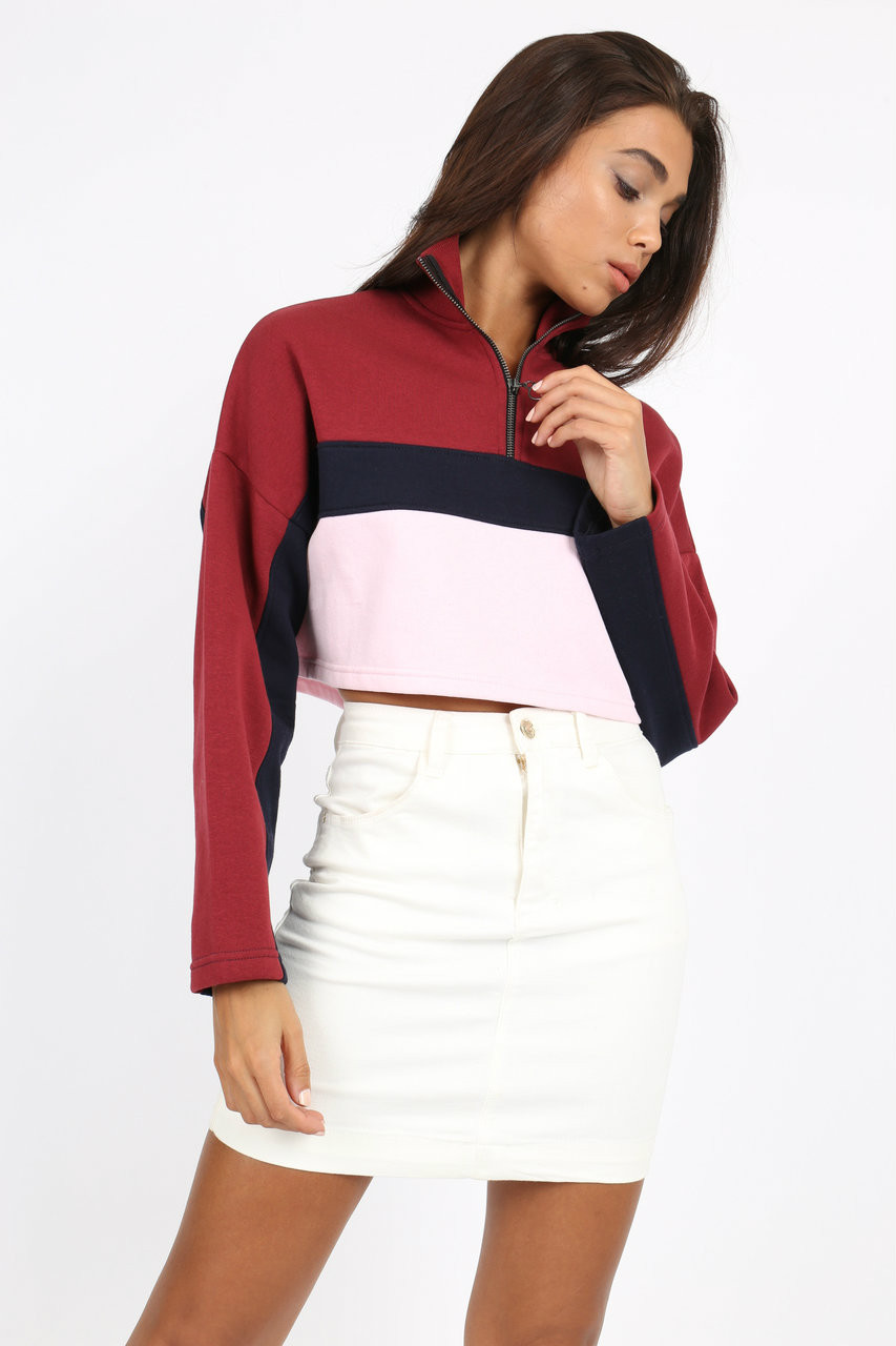 Colour Block Stripe Sweatshirt