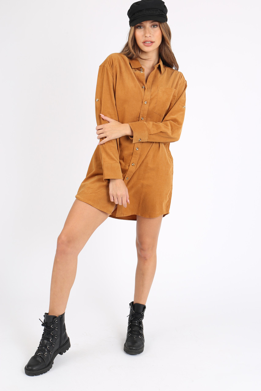 Mustard Long Sleeve Cord Shirt Dresses