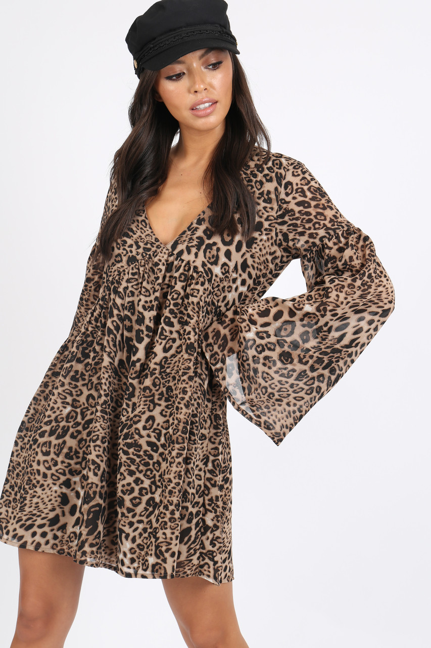 Leopard Print Double Layer Smock Mini Dress