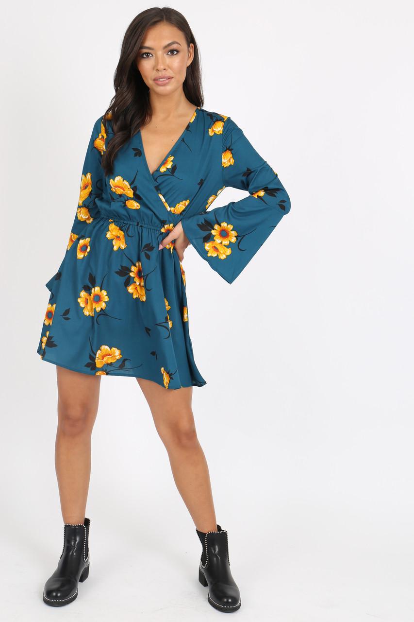 Green Floral Flute Sleeve Skater Dress