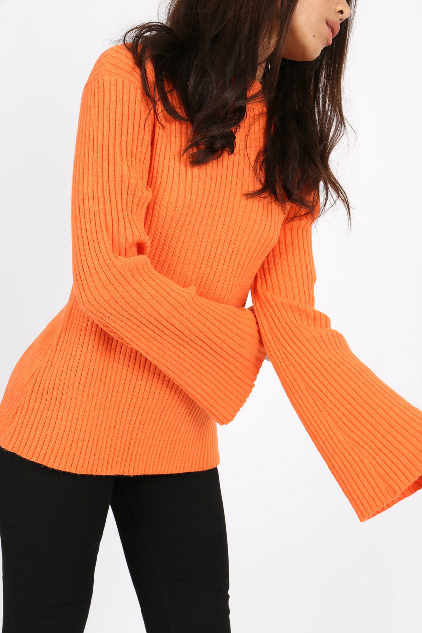 Orange Long Sleeve Ribbed Jumper