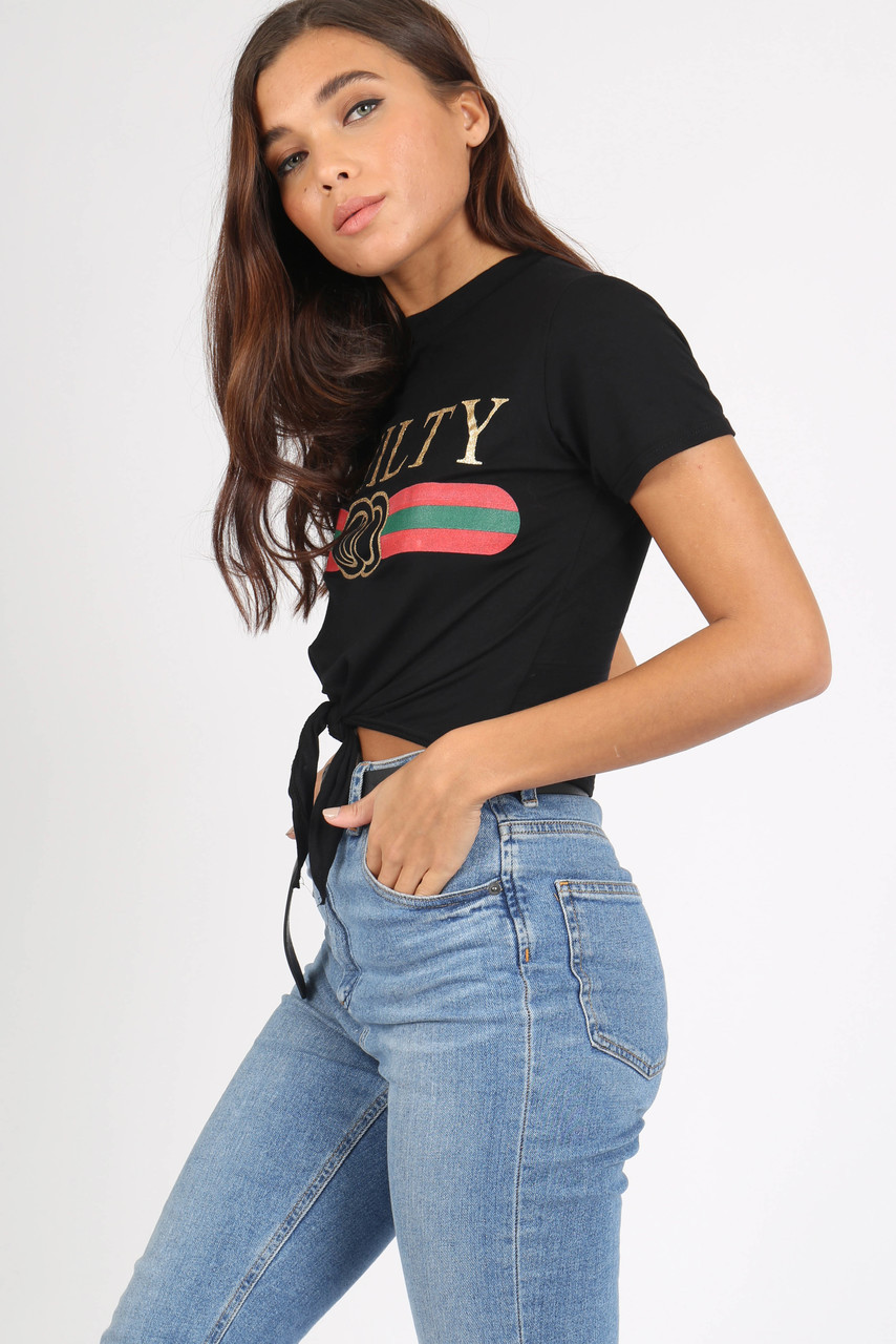 Black Guilty Tie Front Crop Tee