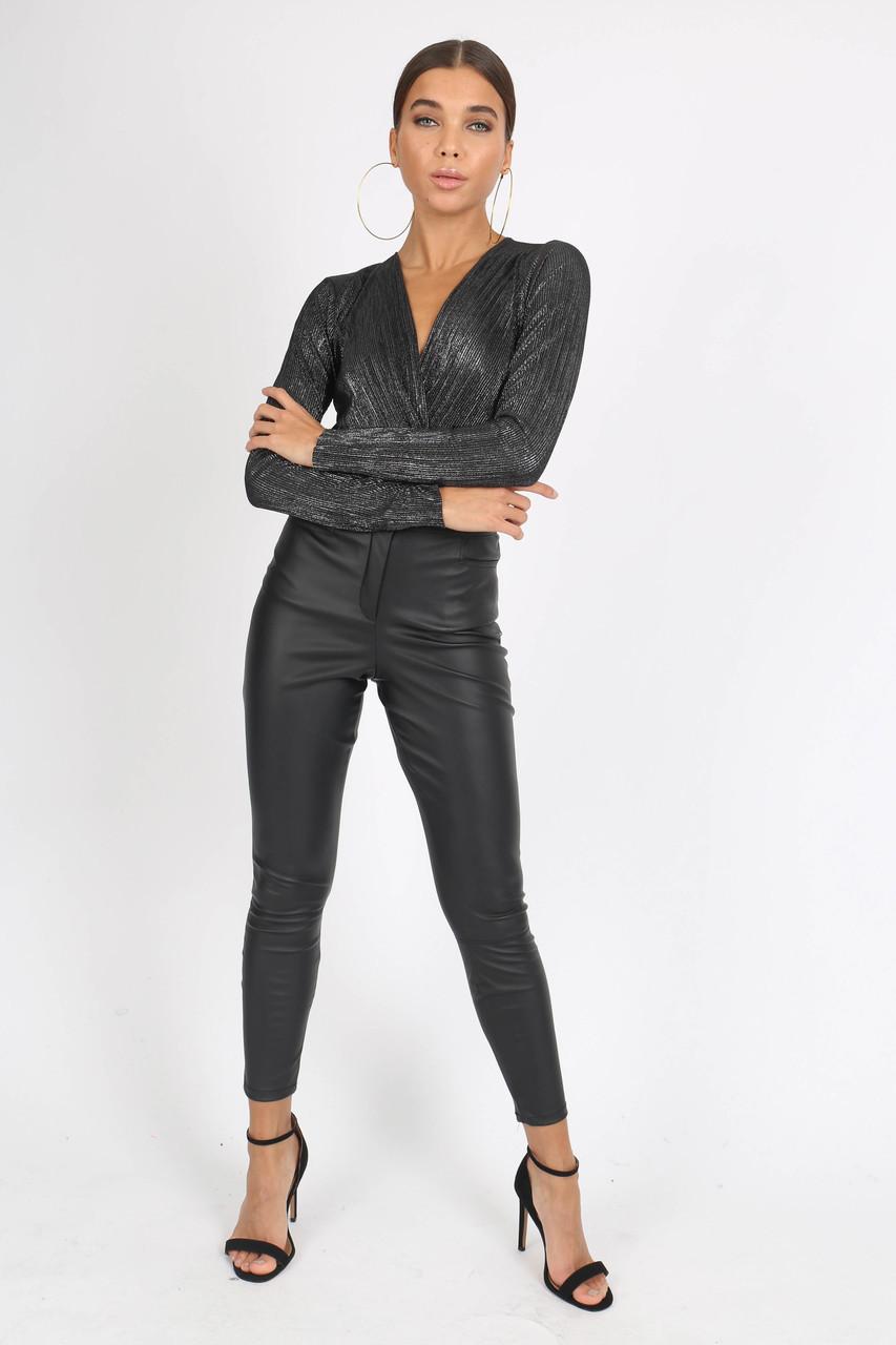 Black Plissé Wrap Front Bodysuit