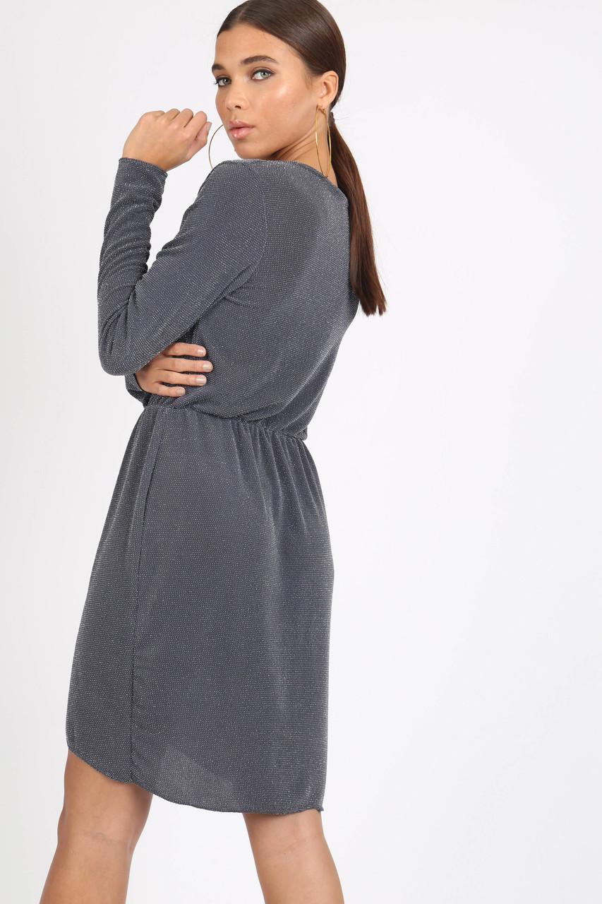 Grey Sparkle Plissé Wrap Mini Dress