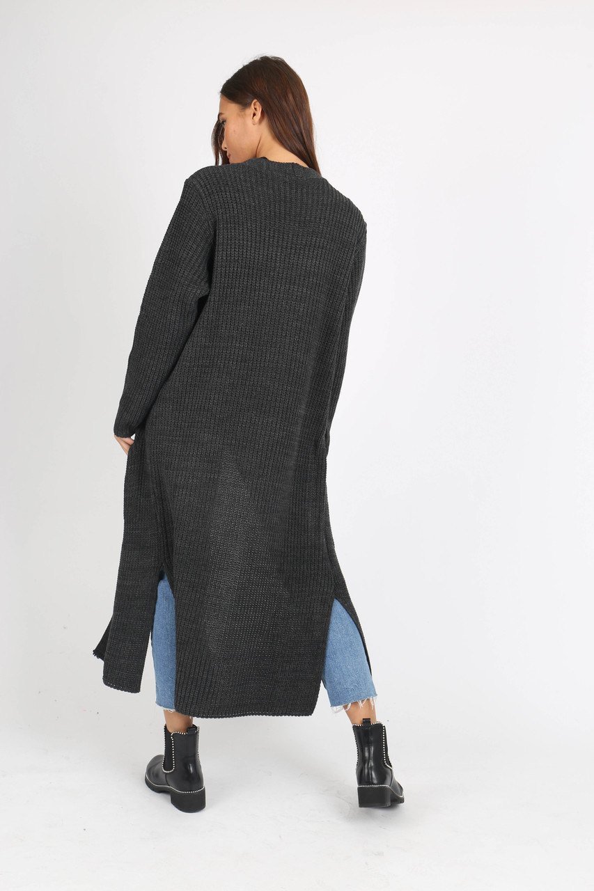 Charcoal Over Sized Knitted Cardigan