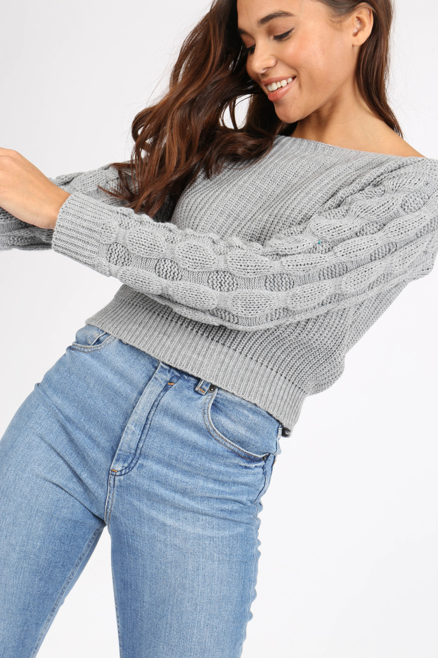 Grey Bubble Sleeve Knitted Crop