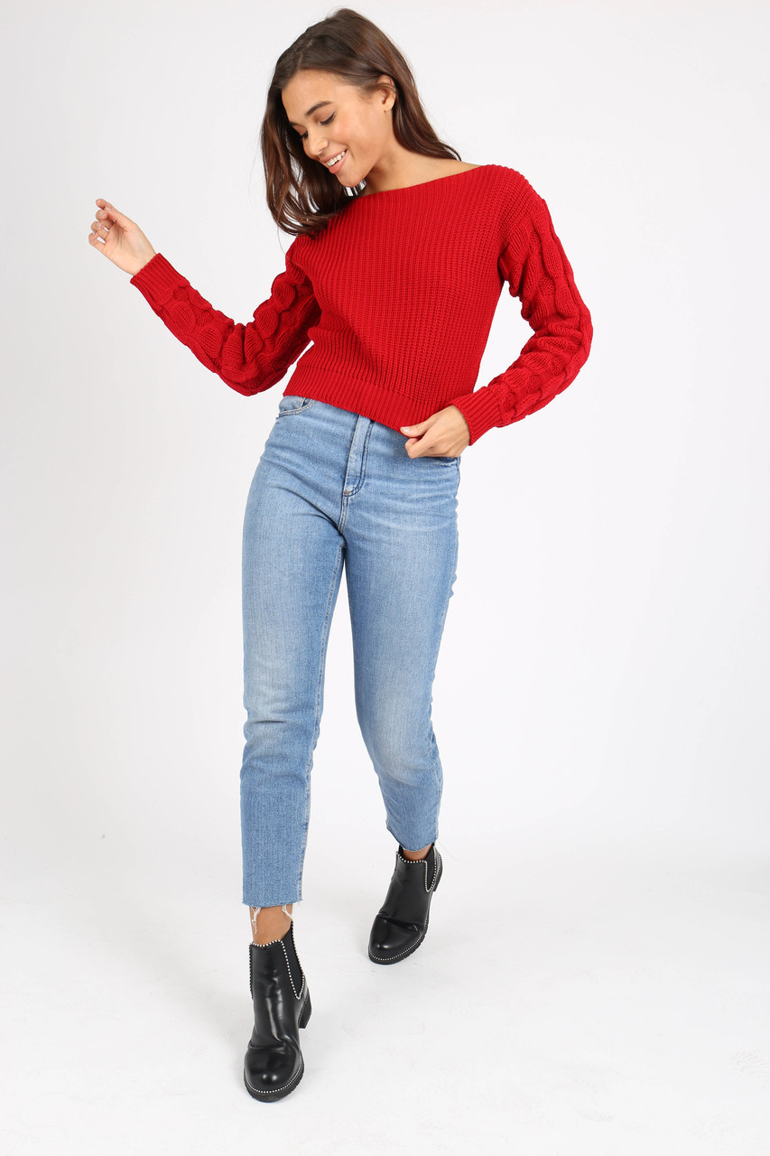 Red Bubble Sleeve Knitted Crop