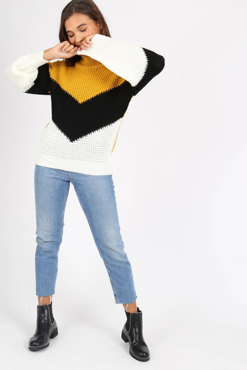 Mustard Chevron Colour Block Knitted Jumper