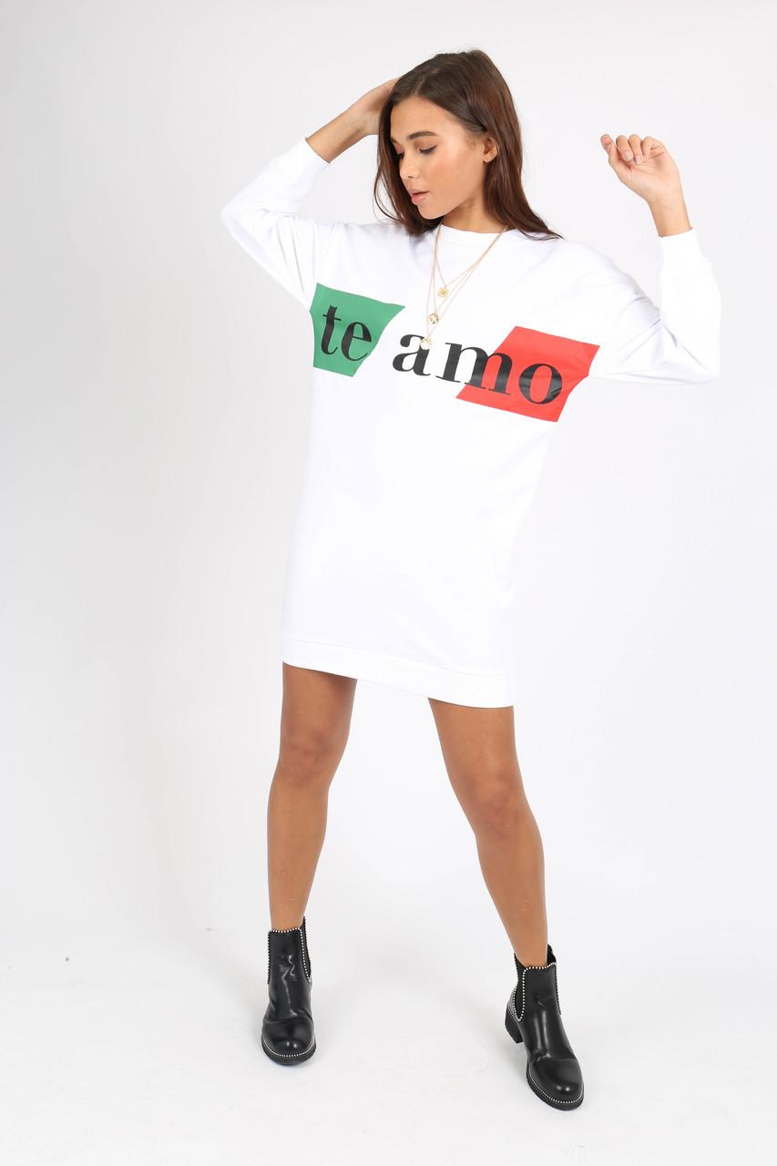 White Te Amo Slogan Sweat Dress