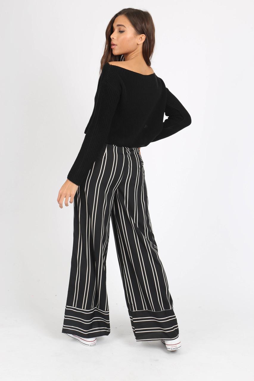 Black Stripe Button Detail Wide Leg Trouser